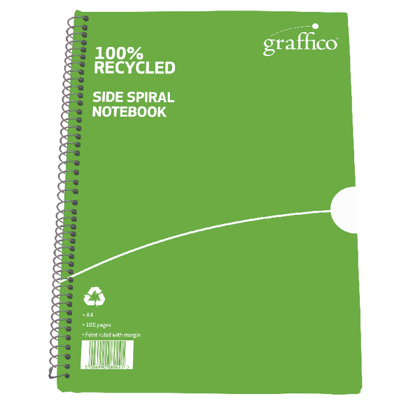 Graffico Recycled Wirebound Notebook 100 Pages A4 (Pack of 10) 9100035