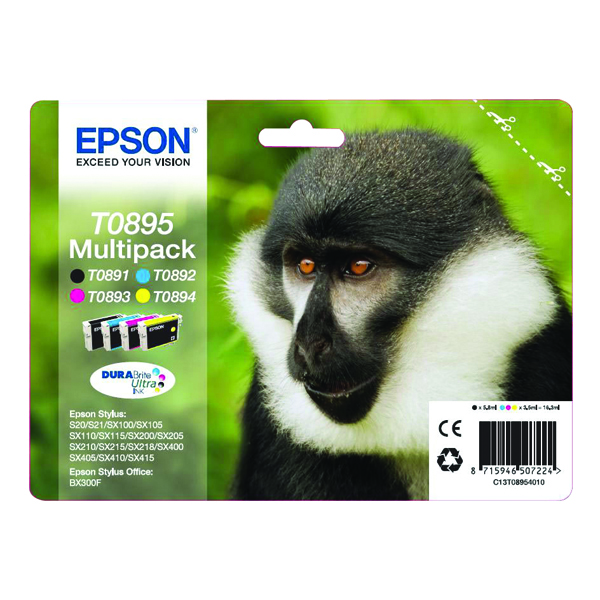 Epson T0895 Black /Cyan/Magenta/Yellow Inkjet Cartridge (Pack of 4) C13T08954010 / T0895