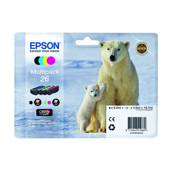Epson 26 Black /Cyan/Magenta/Yellow Inkjet Cartridge (Pack of 4) C13T26164010 / T2616