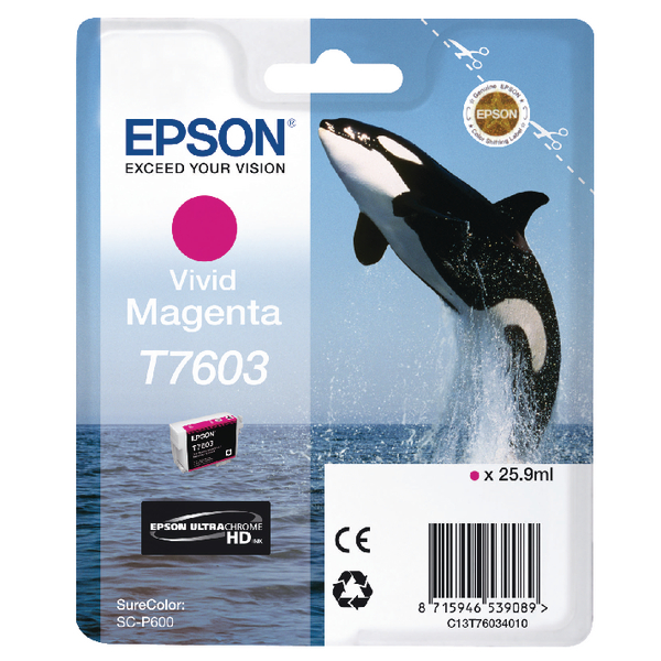 Epson T7603 Vivid Magenta Ink Cartridge C13T76034010 / T7603