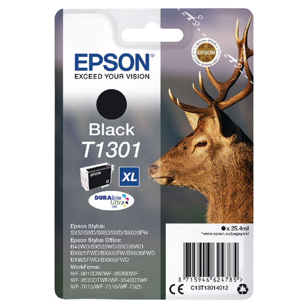 Epson T1301 XHY Black Inkjet Cartridge C13T13014012