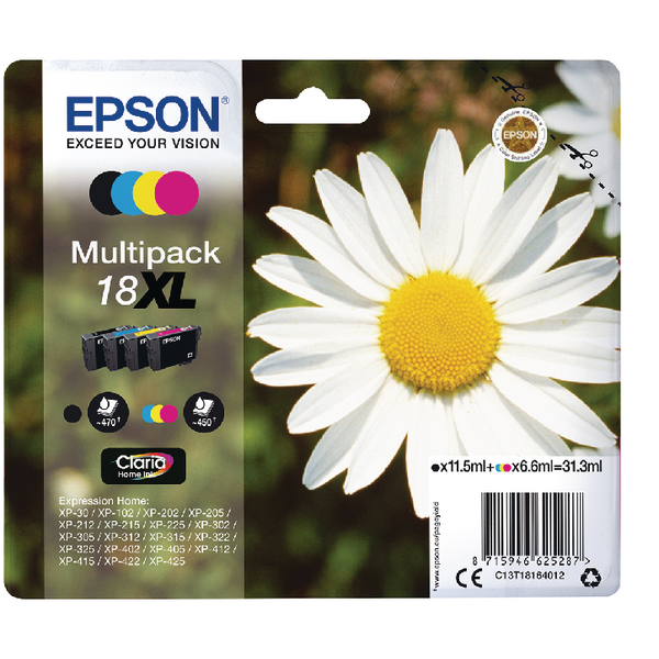 Epson 18XL Black Cyan Magenta Yellow Ink Value (Pack of 4) C13T18164012