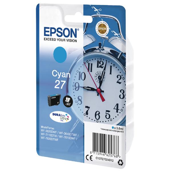 Epson 27 Cyan Inkjet Cartridge C13T27024012