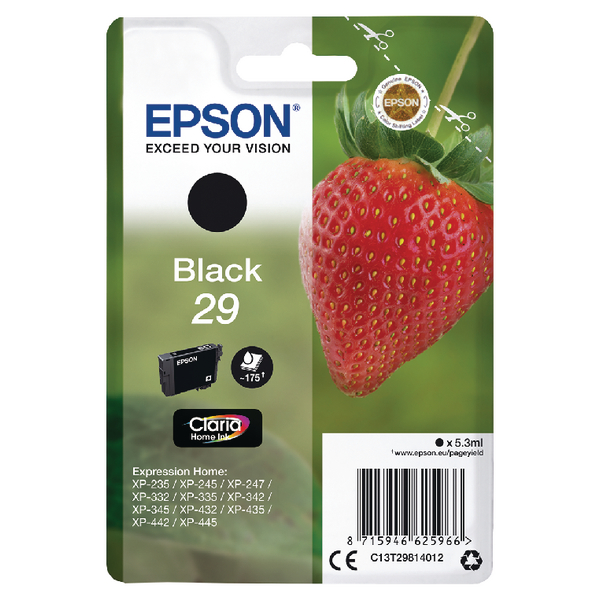 Epson 29 Black Inkjet Cartridge C13T29814012