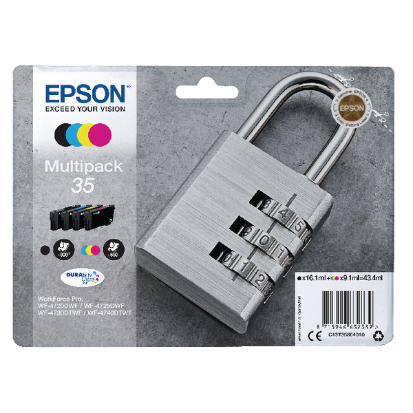 Epson Singlepack 4 Colour 35 DURABrite Ultra Ink C13T35864010