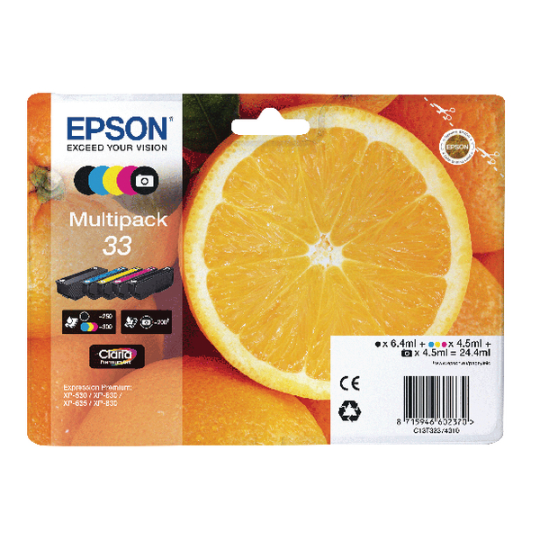 Epson Multipack 33 Non-Tagged Inkjet Cartridges CMYKPhK (Pack of 5) C13T33374011