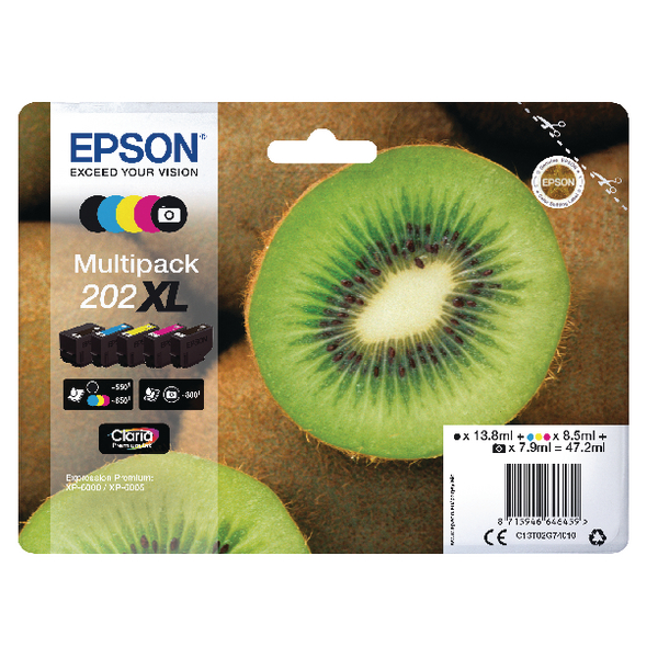 Epson 202XL Inkjet Cartridge (Pack of 5) C1302G74010