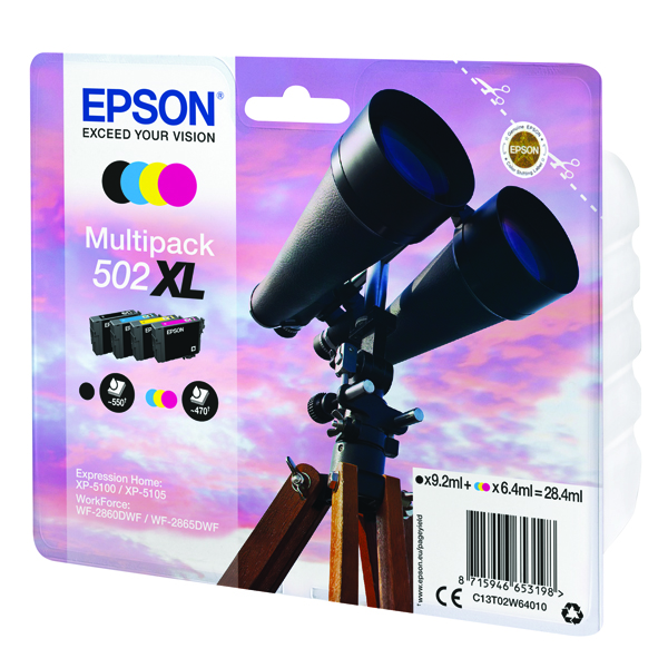 Epson Multipack 502XL Ink 4-colours -(Black ink - 9.2ml, Colour ink - 6.4ml) C13T02W64010