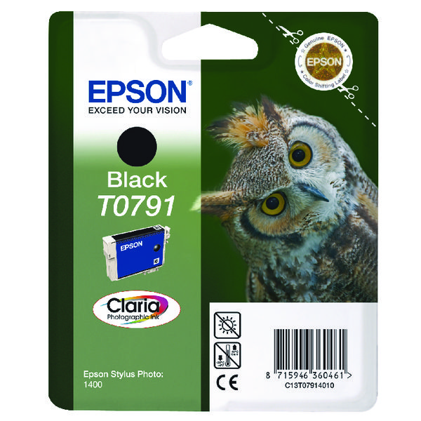 Epson T0791 Black Inkjet Cartridge C13T07914010 / T0791