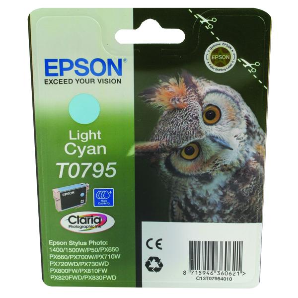 Epson T0795 Light Cyan Inkjet Cartridge C13T07954010 / T0795