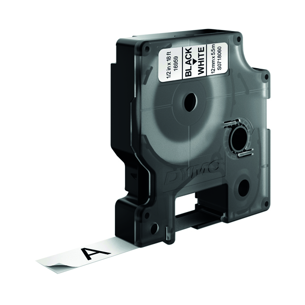 Dymo Polyester D1 Tape 16959 Black On White 12mm S0718060