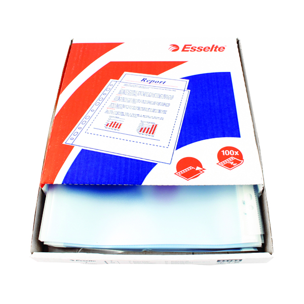Esselte Pocket Top Opening Embossed A4 Clear (Pack of 100) 23752
