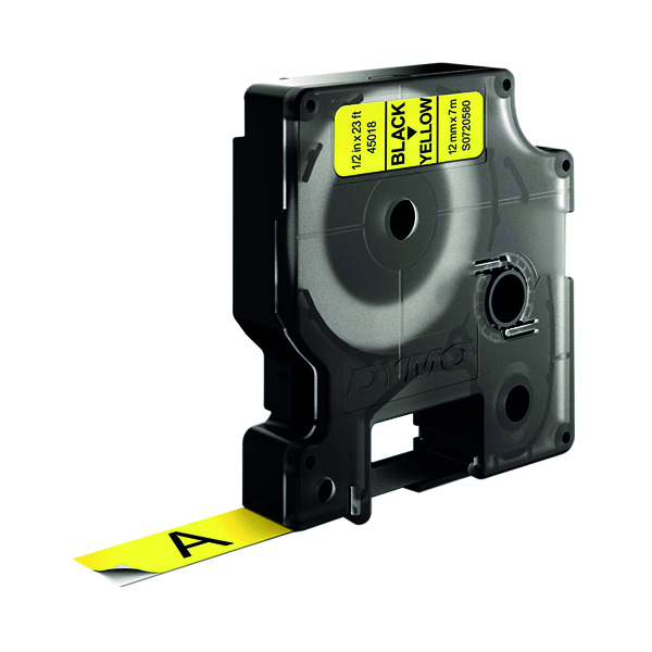 Dymo 45018 D1 LabelMaker Tape 12mm x 7m Black on Yellow S0720580