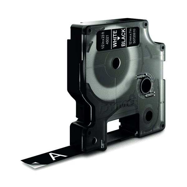 Dymo 45021 D1 LabelMaker Tape 12mm x 7m White on Black S0720610