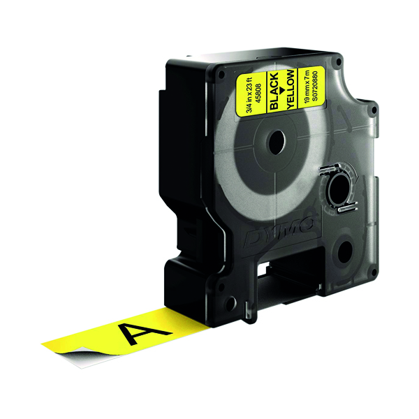 Dymo 45808 D1 Labelmaker Tape 19mm x 7m Black on Yellow S0720880