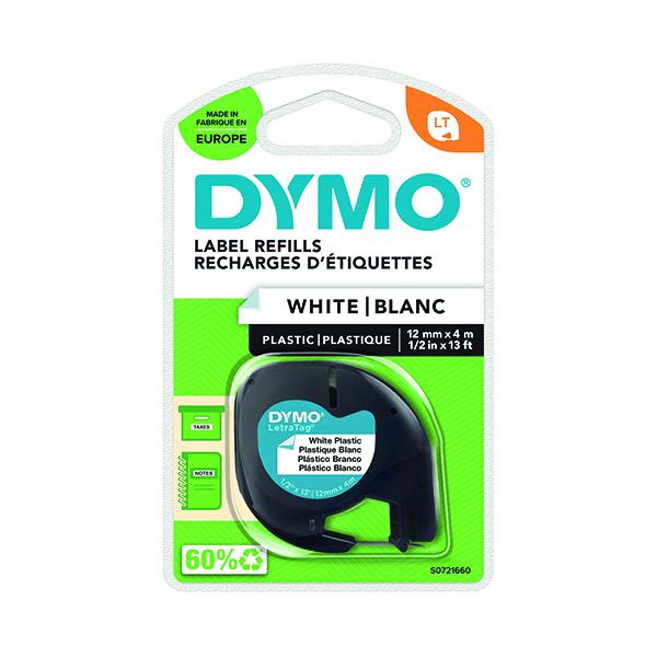 Dymo Letratag Plastic Tape 12mmx4m White PRL S0721660
