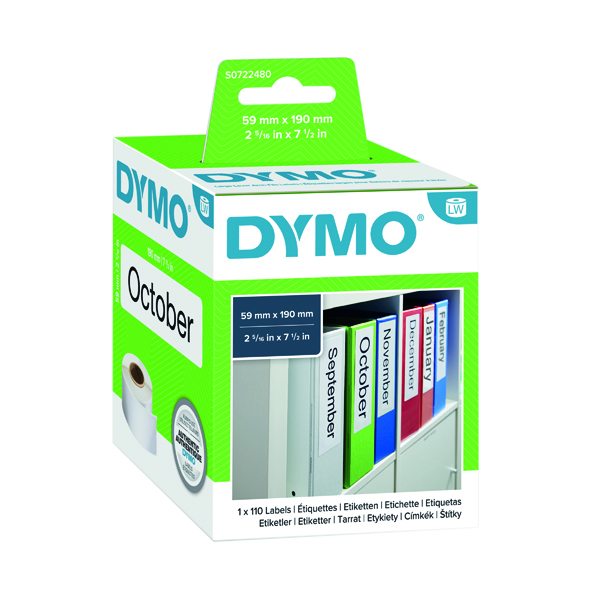Dymo 99019 LabelWriter Lever Arch File Labels 190 x 59mm S0722480