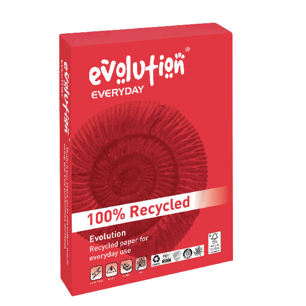 Evolution Everyday A4 Recycled Paper 75gsm White (Pack of 2500) EVE2175