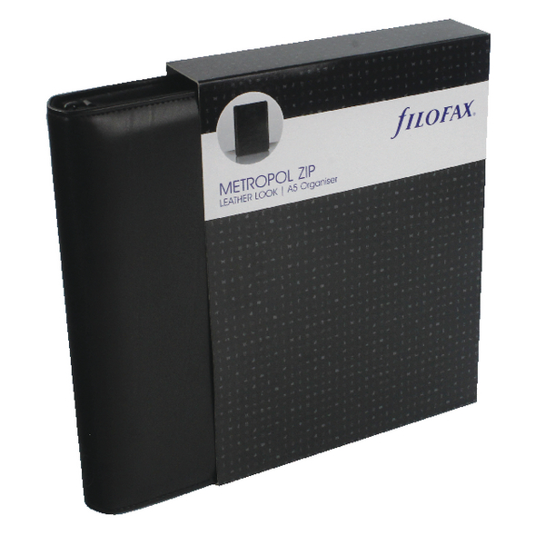 Filofax Metropol Black A5 Zipped Organiser (Includes UK and ROI bank holidays) 026979