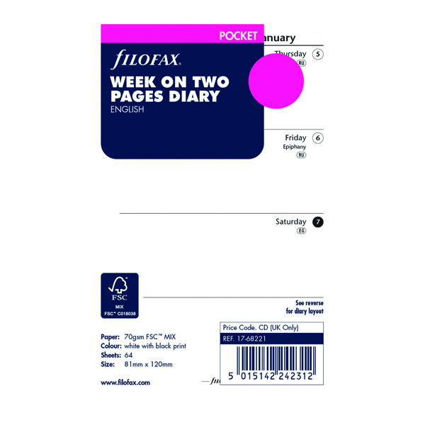 Filofax Refill Week to View Pocket 2021 21-68221