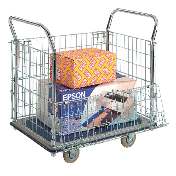 Mesh Sided Platform Trolley (Fitted with 4 x 130mm rubber castors)  PPU23Y