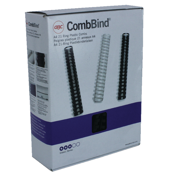 GBC CombBind Binding Combs 16mm Black (Pack of 100) 4028600