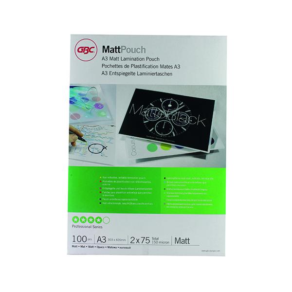 GBC A3 Laminating Pouch 150 Micron Matte (Pack of 100) 41660E