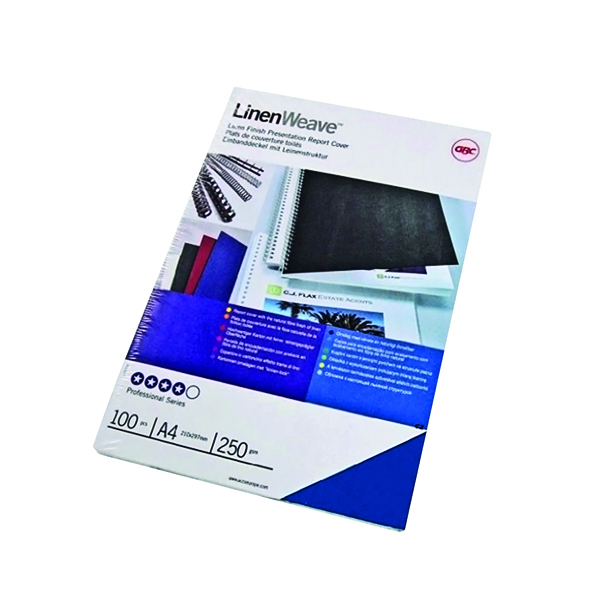 GBC LinenWeave A4 Binding Covers 250gsm R Blue (Pack of 100) CE050010