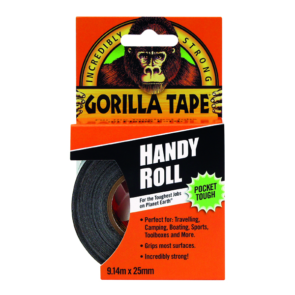 Gorilla Tape Handy Roll 25mm x 9.14m Black 3044401