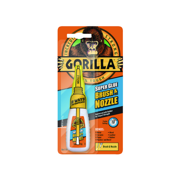 Gorilla Super Glue Brush and Nozzle 12g (Incredibly strong, waterproof glue) 4044501