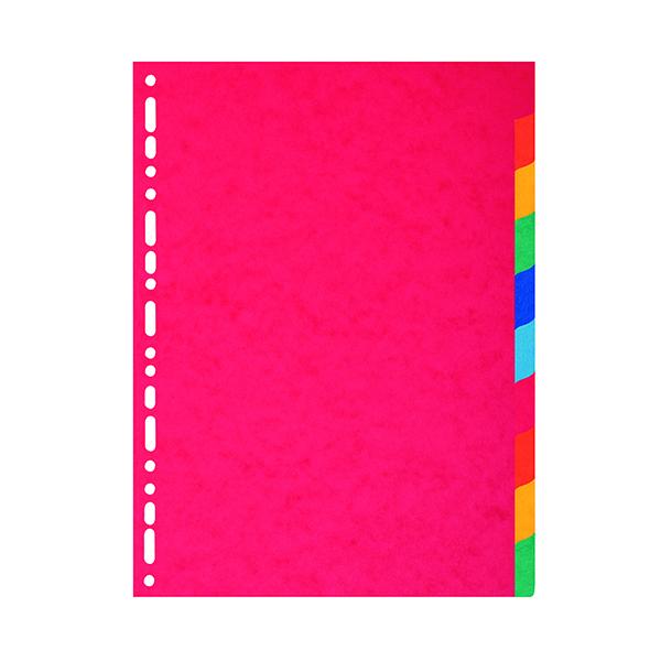 Exacompta Multicoloured A4 Maxi Recycled Dividers 10-Part (225gm pressboard) 2110E