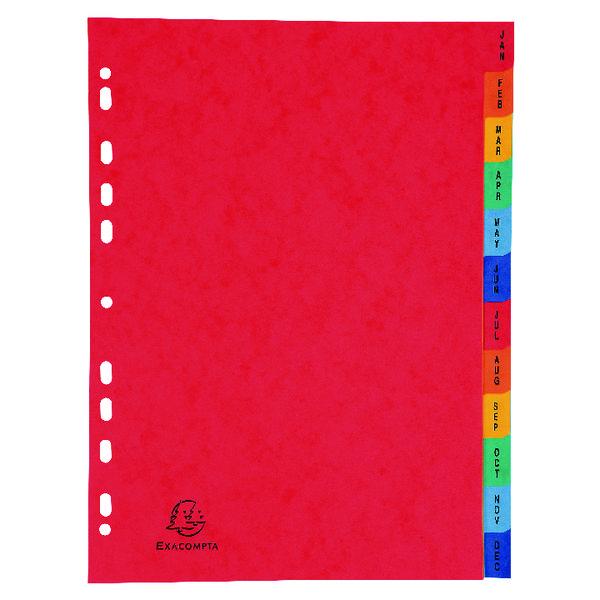 Exacompta Europa Coloured Pressboard Index 12-Part January-December A4 3109Z