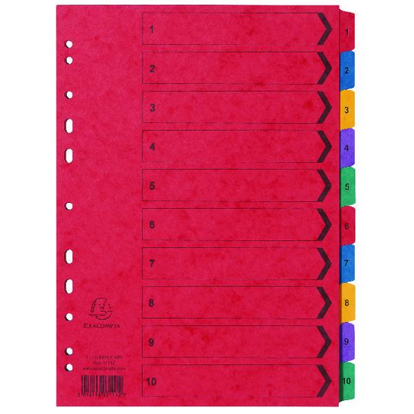 Exacompta Europa Coloured Pressboard Index 1-10 A4 3111Z