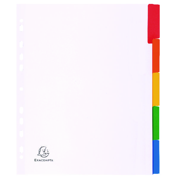 Exacompta Divider Coloured Plastic Tabs 5-Part A4 Maxi White 4305E