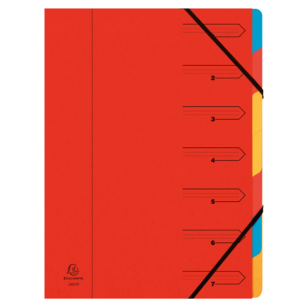 Exacompta Europa 7-Part Organiser  A4 Red 5221Z
