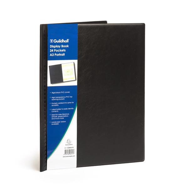 Exacompta Guildhall Display Book Portrait 24 Pockets A3 Black GDB24/P