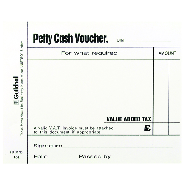 Exacompta Guildhall Petty Cash Pad 100 Leaves 127x102mm White (Pack of 5) 103 1569