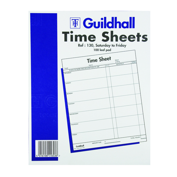 Exacompta Guildhall Work Time Sheet Saturday - Friday 254x203mm (Pack of 100) 1653