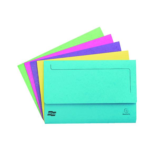 Exacompta Europa Pocket Wallet Foolscap Assorted C (Pack of 25) 3156Z