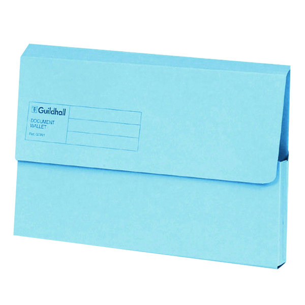 Exacompta Guildhall Document Wallet Foolscap Blue (Pack of 50) GDW1-BLU