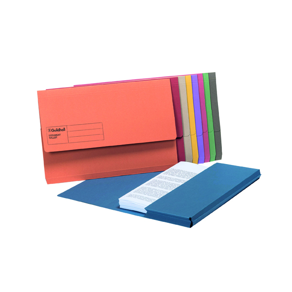 Exacompta Guildhall Document Wallet Foolscap Assorted (Pack of 50) GDW1-AST