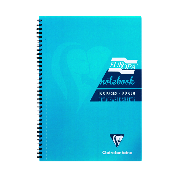 Clairefontaine Europa Notebook 180 Pages A4 Turquoise (Pack of 5) 5802Z