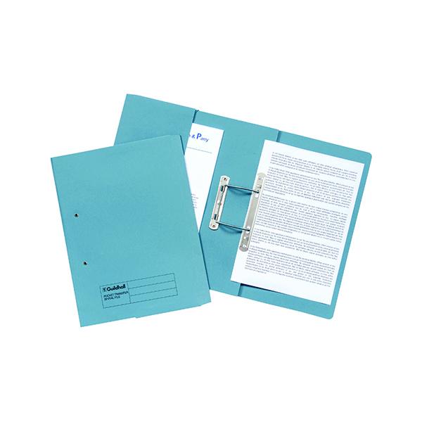 Exacompta Guildhall Transfer Spiral Pocket File 315gsm Foolscap Blue (Pack of 25) 349-BLU