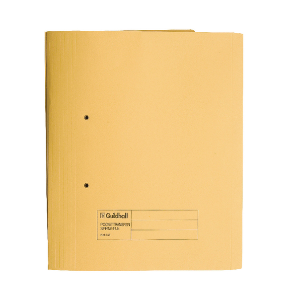 Exacompta Guildhall Transfer Spiral Pocket File 315gsm Foolscap Yellow (Pack of 25) 349-YLW