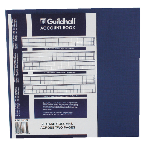 Exacompta Guildhall Account Book 80 Pages 26 Cash Columns 51/26 1334