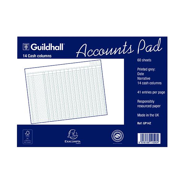 Exacompta Guildhall 14-Column Cash Account Pad 298x406mm GP14