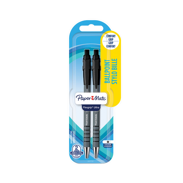 Papermate Flexgrip Retractable Ballpoint Pen Medium Tip Blister Black (Pack of 24) S0181222