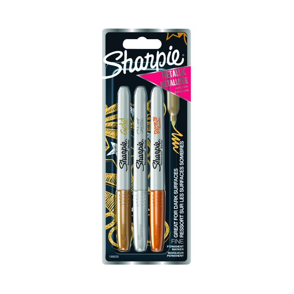 Sharpie Metallic Permanent Marker Fine Assorted (Pack of 3) 1849114