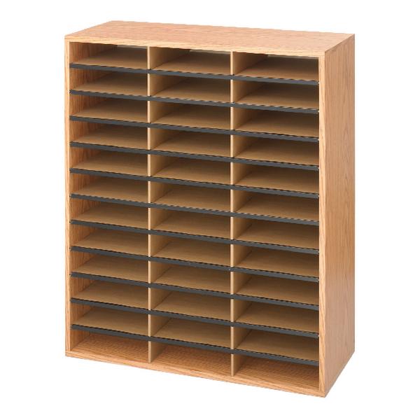 Safco 36 Compartment Literature Organiser Oak 9403MO