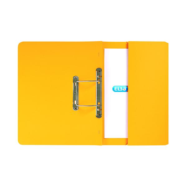 Elba Stratford Spring Pocket File 320gsm Foolscap Yellow (Pack of 25) 100090150